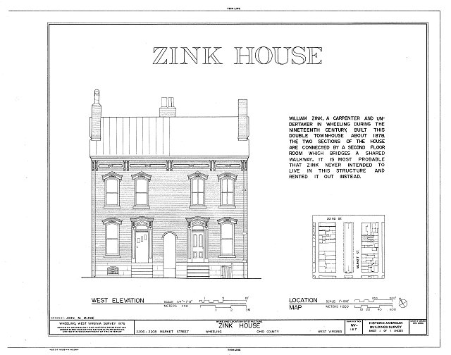 HABS WVA,35-WHEEL,27- (sheet 1 of 1) - William T. Zink Double House, 2206-2208 Market Street, Wheeling, Ohio County, WV