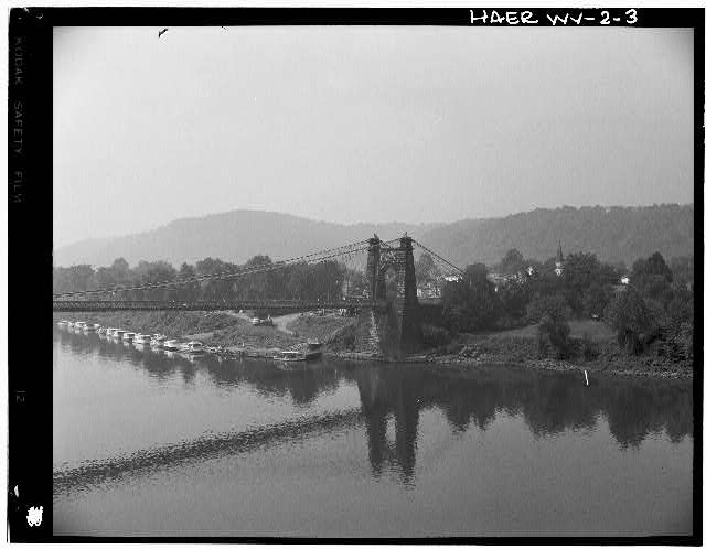 3.  GENERAL VIEW OF MADISON HALF OF BRIDGE, LOOKING SOUTHWEST. - Wheeling Suspension Bridge, Spanning East channel of Ohio River at U.S. Route 40, Wheeling, Ohio County, WV