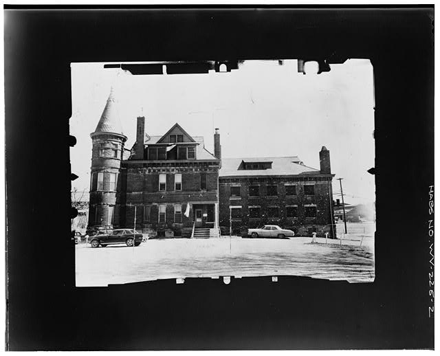 2.  VIEW FROM NORTH--INCLINED Copy photograph of photogrammetric plate LC-HABS-GS05-B-1975-102R. - Wood County Jail, Market Street, Parkersburg, Wood County, WV