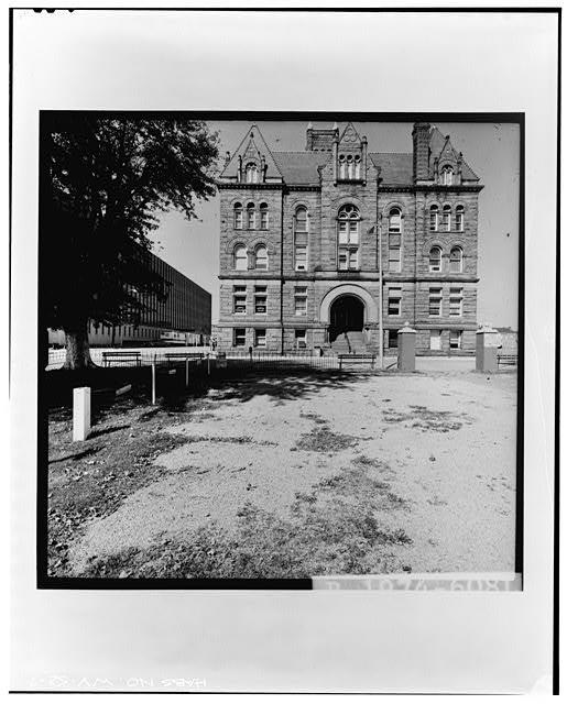 7.  SOUTH FACADE--LEVEL Copy photograph of photogrammetric plate LC-HABS-GS13-B-1974-608L. - Old Wood County Courthouse, Parkersburg, Wood County, WV