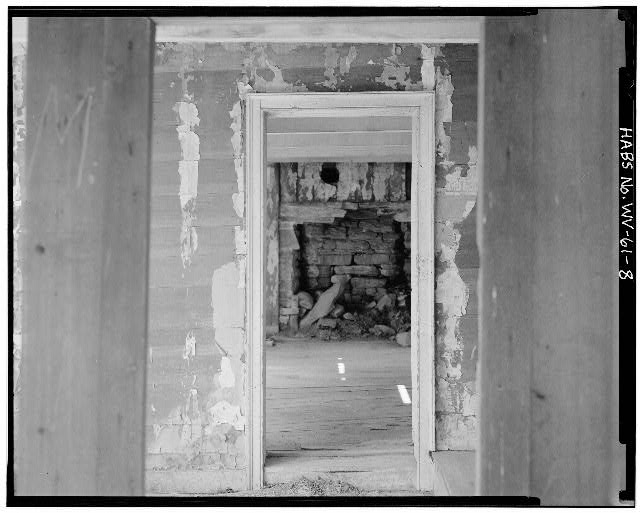 8.  FIRST FLOOR, FRAMED DOORWAY LEADING INTO THE LOG PORTION OF THE HOUSE LOOKING WEST - Sites Homestead, Monongahela National Forest (Tract 390) East of Route 28, Seneca Rocks, Pendleton County, WV