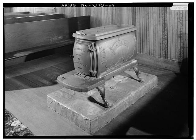 Detail of an Ajax Stove made by Chicago Stove Works in 1883; interior of the church - St. Andrew's Episcopal Church, Atlantic City, Fremont County, WY