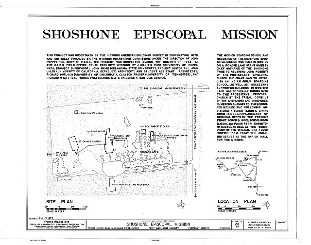 Site Plan - Shoshone Episcopal Mission, Wind River Indian Reservation, Fort Washakie, Fremont County, WY