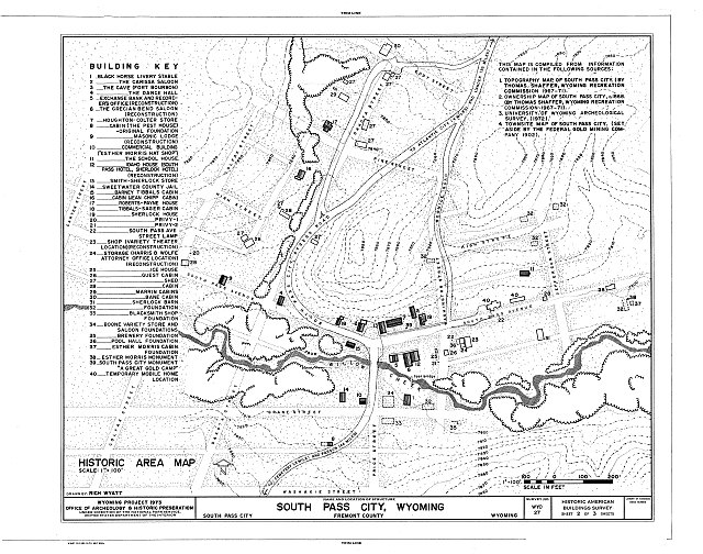 Historic Area Map - South Pass City, General View, South Pass City, Fremont County, WY