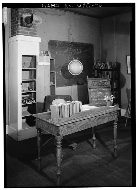 Cupboard below chimney. - School House, South Pass Avenue near Jefferson Street, South Pass City, Fremont County, WY