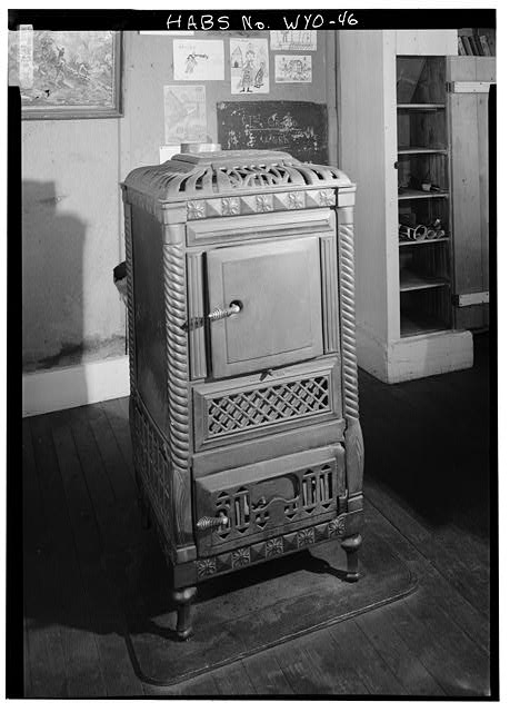 Detail: iron stove. - School House, South Pass Avenue near Jefferson Street, South Pass City, Fremont County, WY