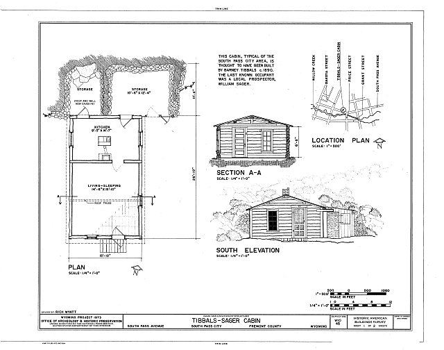 South Elevation, Section and Plan - Tibbals-Sager Cabin, South Pass Avenue, South Pass City, Fremont County, WY