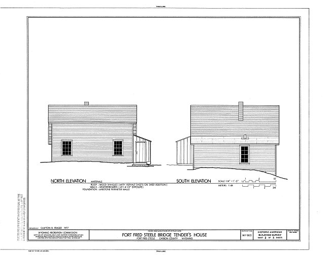North & South Elevations - Fort Fred Steele, Bridge Tenders House, Fort Steele, Carbon County, WY