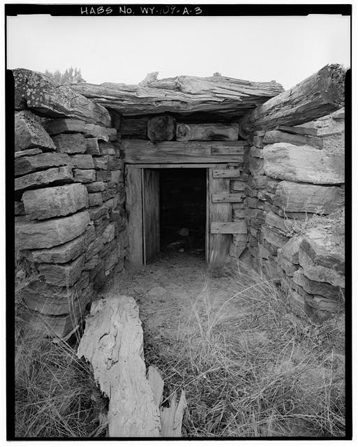 3.  DETAIL OF ENTRANCE, VIEW TO SOUTHWEST - Rock Well Homestead, Dugout, 15 miles Southeast of Wright, Wright, Campbell County, WY