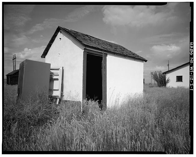 1.  EAST FRONT AND SOUTH SIDE - Dunlap Ranch, Pumphouse, Gillette, Campbell County, WY