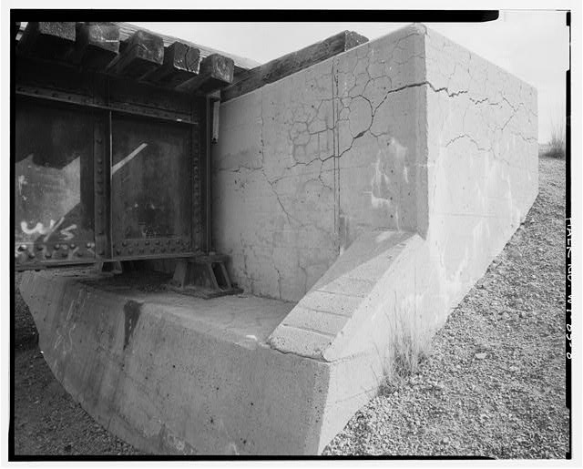 8.  East abutment on south side of bridge, view to east northeast - North Platte River Bridge No. 1210, Casper, Natrona County, WY