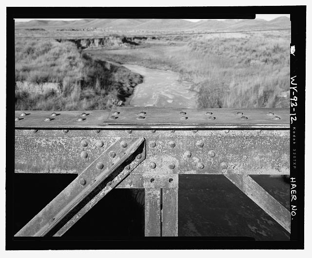 Middle of north side of bridge, detail, view to east - North Fork of Crazy Woman Creek Bridge, Spanning North Fork of Crazy Woman Creek at Middle Fork Road, Buffalo, Johnson County, WY