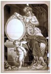 Woman, seated with lyre, thespian's mask, and cupid (poster)
