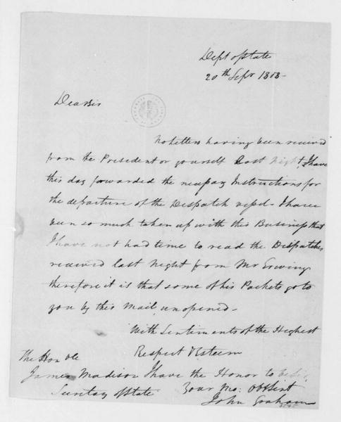 John Graham to James Madison, September 20, 1808.