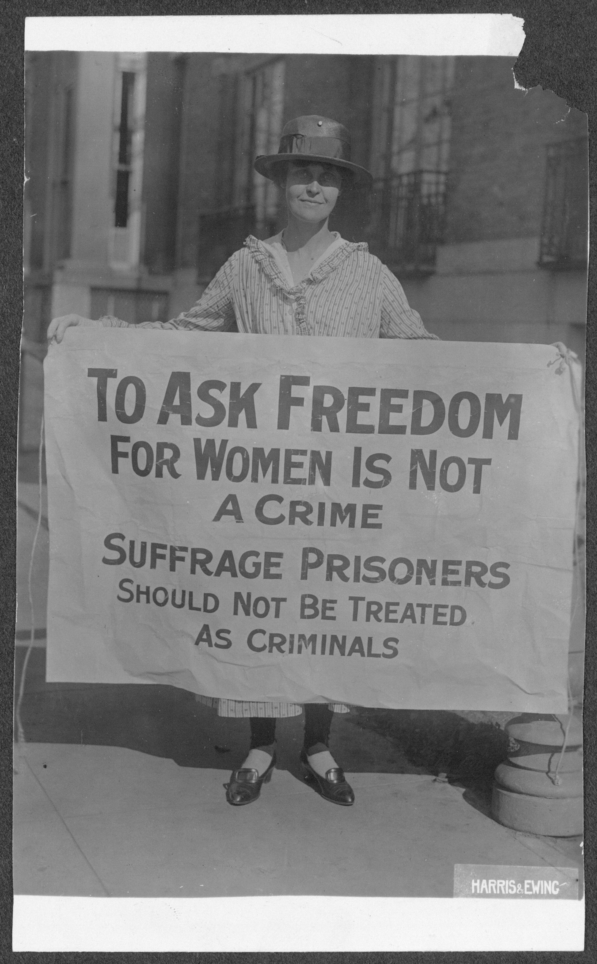 mary winsor penn 17 holding suffrage prisoners banner