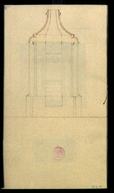 [Design drawing for stove. Front]