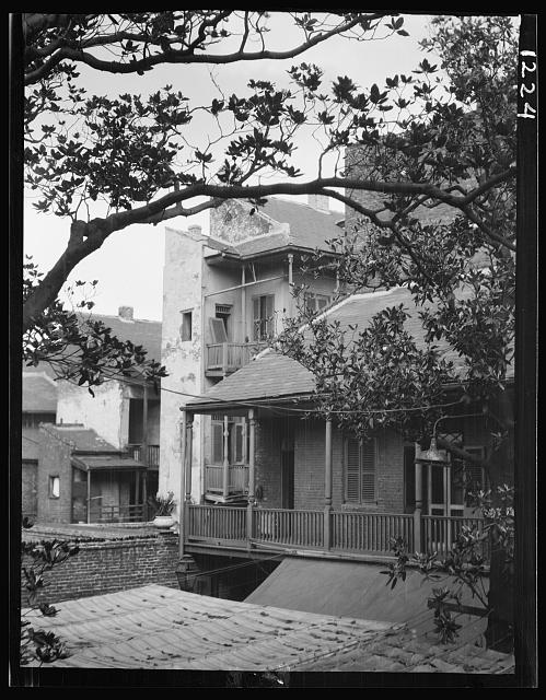 Courtyard balconies and upper levels of houses, New Orleans