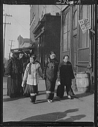 Three women on Kearney Street, Chinatown, San Francisco