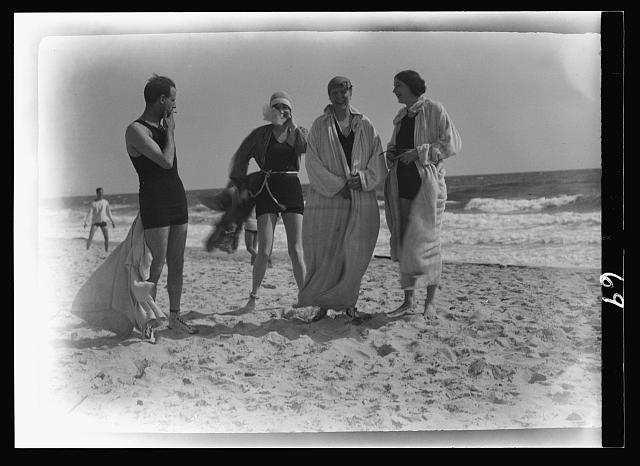 Group of people at Long Beach, New York