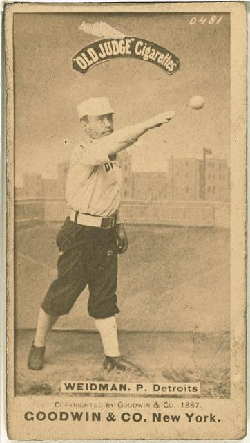 [Stump Weidman, Detroit Wolverines, baseball card portrait]