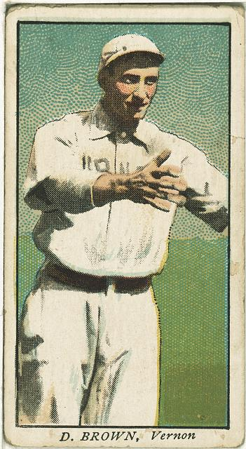 [D. Brown, Vernon Team, baseball card portrait]