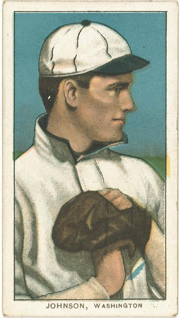 [Walter Johnson, Washington Nationals, baseball card portrait]