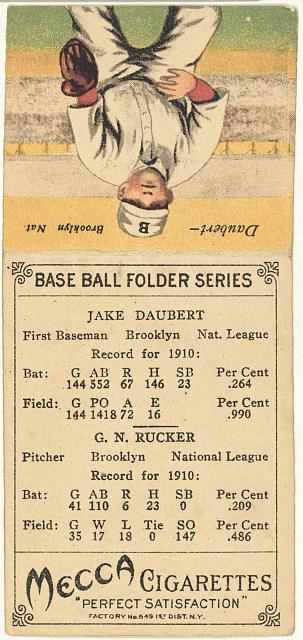 [G. N. Rucker/Jake Daubert, Brooklyn Superbas, baseball card portrait]
