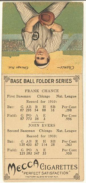[John Evers/Frank Chance, Chicago Cubs, baseball card portrait]