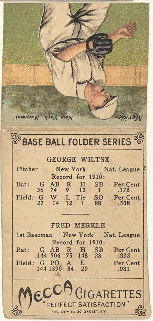 [George Wiltse/Fred Merkle, New York Giants, baseball card portrait]