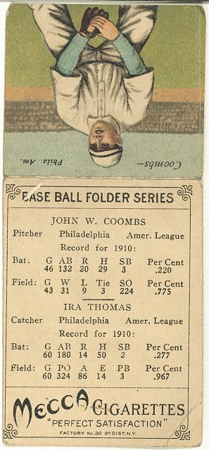 [Ira Thomas/John W. Coombs, Philadelphia Athletics, baseball card portrait]