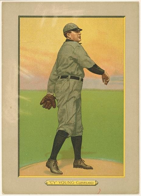 [Cy Young, Cleveland Naps, baseball card portrait]