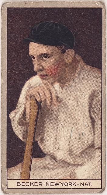 [Beals Becker, New York Giants, baseball card portrait]