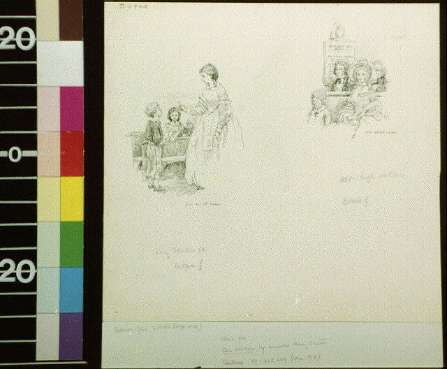 [Woman talking to two children ; woman seated in church]