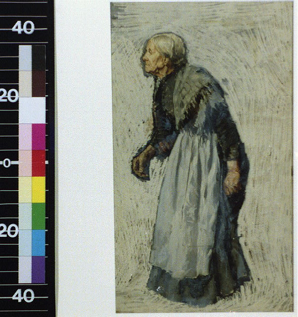 [Old woman in apron and shawl]
