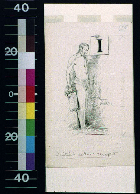 [Standing man and letter I]