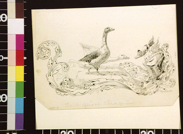 [Two geese and acanthus decoration]