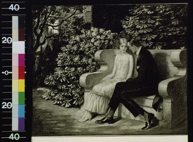 [Man and woman on garden bench]