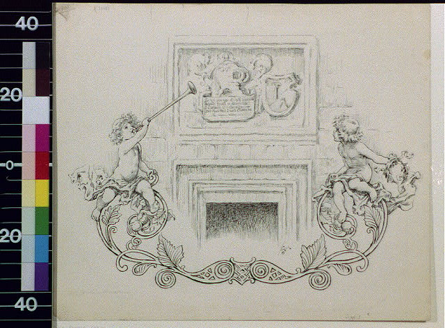 [Coat of arms over fireplace and cherub decoration]