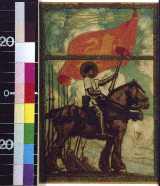 [Haloed Joan of Arc (?) on horse with lion flag leading army]