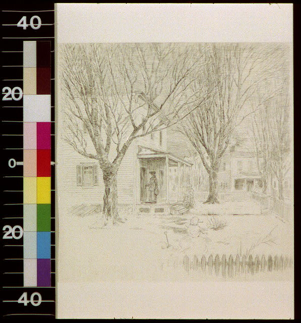 [Woman standing on porch of house; snowman in the front yard]