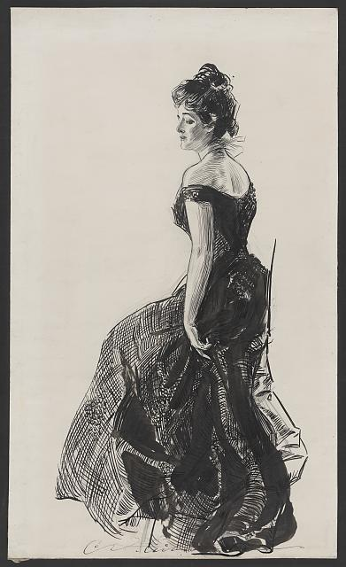 [Woman in black evening dress]