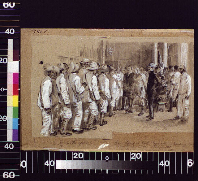 General Lecret and Colonel Figuretti inspecting Cuban recruits at Cuban headquarters ...