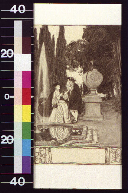 [Man and woman beside fountain and urn with monkey atop]