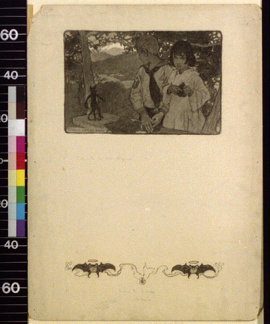 [Children outdoors with black cat]