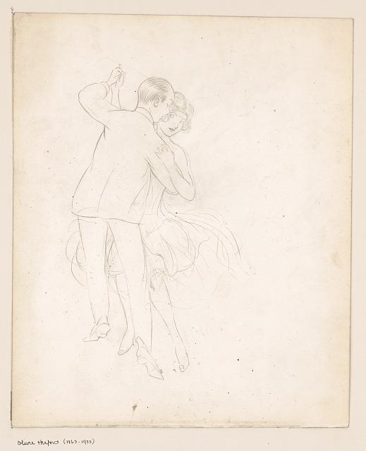 [Man and woman dancing close]