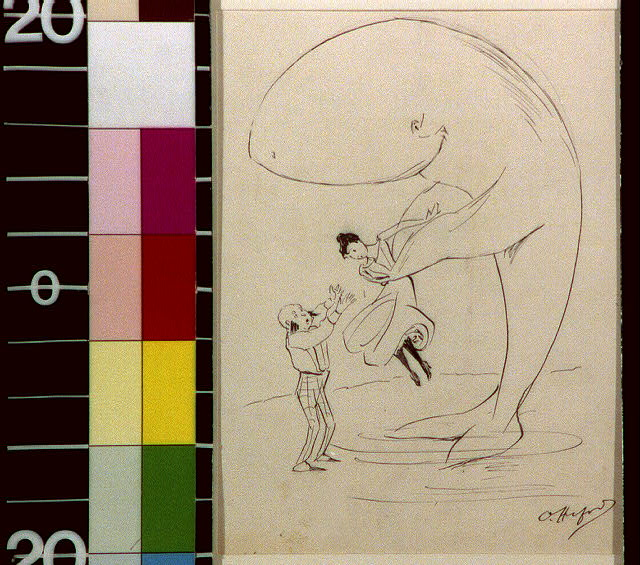 [Man with side whiskers watching lady being lifted by a whale]