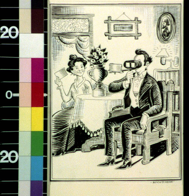 [Couple looking at stereographs]