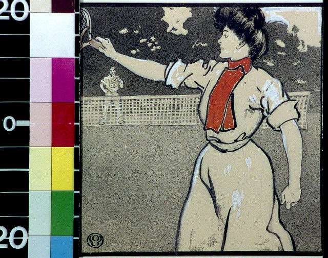 [Woman and man playing tennis]