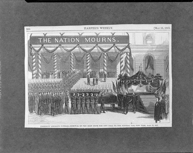 Pres. Lincoln's funeral - removal of the body from the City Hall to the funeral car, New York