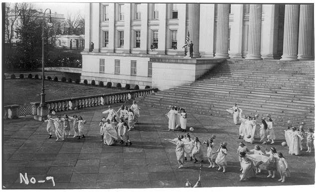 Scene from a tableau held on the Treasury steps in Washington, D.C., in conjunction with the Woman's suffrage procession on March 3, 1913